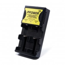 Ppower 2 Slots Batteries Charger (PIIA) (Charge 3.7V Lithium Ion/1.2V Ni-Mh/Ni-cd Rechargeable Battery) /Set